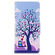 кейс для галактики samsung примечание 8 держатель древесной карточки pu кошелек кожаный мешок с рисунком