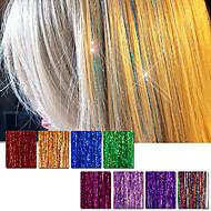저렴한 -머리카락 틴셀 확장 160 가닥 90cm 8 색 (반짝 이는 빨간색 보라색 무지개 핫 핑크 골드 화이트 블루) dazzles 하이라이트 파티 축제