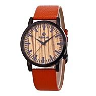 お買い得  -男性用 女性用 ファッションウォッチ 腕時計 ウッド 日本産 クォーツ 木製 本革 バンド チャーム カジュアル オレンジ