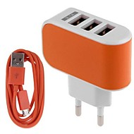 Carregador Fixo / Carregador Portátil Carregador USB Ficha EU Conjunto de Carregador / Portas Multiplas 3 Portas USB 3.1 A para