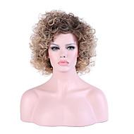 Női Sapka nélküli Közepes Kinky Curly Fekete / Honey Blonde Természetes hajszálvonal Ombre haj Réteges frizura Természetes paróka Party