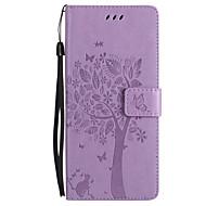 Недорогие Чехлы и кейсы для Galaxy Note-Кейс для Назначение SSamsung Galaxy Note 8 Note 5 Бумажник для карт Кошелек со стендом Флип Рельефный Чехол Кот Бабочка дерево Твердый