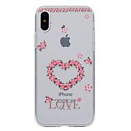 Назначение iPhone X iPhone 8 iPhone 8 Plus Чехлы панели Прозрачный С узором Задняя крышка Кейс для С сердцем Цветы Мягкий Термопластик для