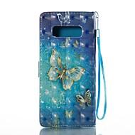 Недорогие Чехлы и кейсы для Galaxy Note 8-Кейс для Назначение SSamsung Galaxy Note 8 Бумажник для карт Кошелек со стендом Флип Магнитный С узором Чехол Бабочка Твердый Кожа PU для