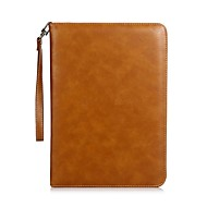 cheap -For iPad (2017) Case Cover Card Holder with Stand Flip Magnetic Auto Sleep/Wake Up Full Body Case Solid Color Hard Genuine Leather for