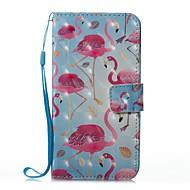 Недорогие Кейсы для iPhone 8-Кейс для Назначение Apple iPhone X iPhone 8 Plus Бумажник для карт Кошелек со стендом Флип Магнитный С узором Чехол Фламинго Твердый Кожа