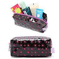 quadrate negro charol rosa hueca corazón amoroso maquillaje cosméticos bolsa de cosméticos de almacenamiento