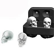 cheap Kitchen & Dining-3D Silicone Skull Ice Cube Molds Whiskey Cocktail Ice Ball Maker Tray Halloween Bar DIY Tool