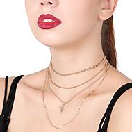 Mujer Collares de cadena Collares en capas Cristal Forma de Cruz Brillante Legierung Sexy Multi capa Joyas Para Fiesta Diario