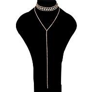女性用 レイヤードネックレス ラインストーン 幾何学形 ラインストーン 合金 ファッション 多層式 ジュエリー 用途 パーティー フォーマル