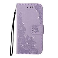 Кейс для Назначение SSamsung Galaxy Note 8 Кошелек Бумажник для карт Стразы со стендом Флип Рельефный С узором Чехол Цветы Твердый