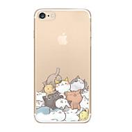 Недорогие Кейсы для iPhone 8 Plus-Кейс для Назначение iPhone X iPhone 8 Ультратонкий Прозрачный С узором Задняя крышка Кот Мягкий TPU для iPhone X iPhone 8 Plus iPhone 8
