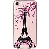 Кейс для Назначение iPhone X iPhone 8 Ультратонкий Прозрачный С узором Задняя крышка Эйфелева башня Цветы Мягкий TPU для iPhone X iPhone
