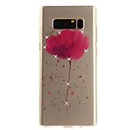 Недорогие Чехлы и кейсы для Galaxy Note-Кейс для Назначение Note 8 Стразы Ультратонкий Прозрачный С узором Задняя крышка Цветы Мягкий TPU для Note 8 Note 5 Edge Note 5 Note 4