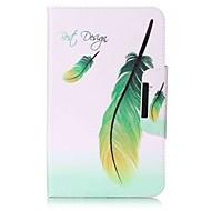 porte-cartes à motifs en plumes porte-monnaie avec étui en cuir magnétique pu boîtier en cuir pour samsung galaxy tab e 8.0 t377 t377v