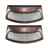 cheap LED Solar Lights-2PCS Solar Power Light Motion Detection 8 LED Waterproof Outdoor Smiling Wall Lights Wireless Security Step Night Lamps -Copper