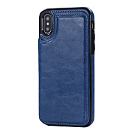 billige iPhone-etuier-Til iPhone X iPhone 8 Etuier Kortholder Med stativ Bagcover Etui Helfarve Hårdt Kunstlæder for Apple iPhone X iPhone 8 Plus iPhone 8