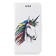 Недорогие Кейсы для iPhone 8-Кейс для Назначение Apple iPhone X iPhone 8 iPhone 8 Plus Бумажник для карт Флип С узором Рельефный Чехол единорогом Животное Твердый