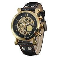WINNER Herrn Kleideruhr Armbanduhr Mechanische Uhr Automatikaufzug Transparentes Ziffernblatt Leder Band Retro Freizeit Schwarz