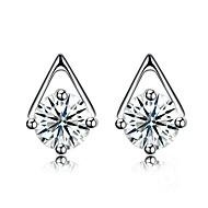 Women's Stud Earrings Formal Basic Silver Zircon Taper Shape Geometric Shape Jewelry For Daily Office & Career