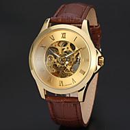 お買い得  -WINNER 男性用 リストウォッチ 機械式時計 自動巻き 30 m 透かし加工 レザー バンド ハンズ ぜいたく ヴィンテージ ブラック / ブラウン - ゴールド ブラック