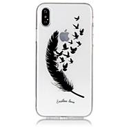Недорогие Кейсы для iPhone 8-Кейс для Назначение Apple iPhone X iPhone 8 Ультратонкий Прозрачный С узором Рельефный Кейс на заднюю панель  Перья Мягкий ТПУ для iPhone