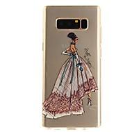 Недорогие Чехлы и кейсы для Galaxy Note-Кейс для Назначение SSamsung Galaxy Note 8 Ультратонкий Прозрачный С узором Кейс на заднюю панель Соблазнительная девушка Мягкий ТПУ для