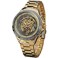 저렴한 -WINNER 남성용 패션 시계 드레스 시계 손목 시계 오토메틱 셀프-윈딩 중공 판화 스테인레스 스틸 밴드 빈티지 캐쥬얼 멋진 블랙 골드