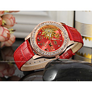 WINNER 女性用 機械式時計 ドレスウォッチ リストウォッチ 自動巻き 透かし加工 レザー バンド 光沢タイプ Elegant ブラック レッド パープル