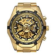 저렴한 -WINNER 남성용 패션 시계 드레스 시계 손목 시계 오토메틱 셀프-윈딩 중공 판화 스테인레스 스틸 밴드 캐쥬얼 골드