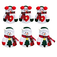 voordelige Feestdagen- & Feestartikelen-6 stks sneeuwpop kerstman elk bestek pak houders zakken messen forks servies tassen kerst eettafel