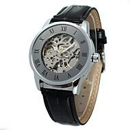 abordables Relojes Mecánicos-WINNER Hombre Mujer Reloj Casual Reloj de Moda Reloj de Pulsera Cuerda Automática 30 m Cool Piel Banda Analógico Casual Dorado Negro