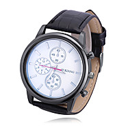 Men's Women's Casual Watch Chinese Quartz Large Dial PU Band Casual Black
