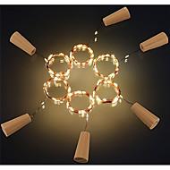 6pcs 2m 20led 코르크 모양의 병 스톱 램프 유리 와인 은색 구리 문자열 문자열 조명 크리스마스 파티 결혼식 장식