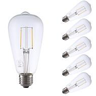 abordables Lámparas LED de Filamentos-GMY® 6pcs 2W 220lm E26 Bombillas de Filamento LED ST21 2 Cuentas LED COB Regulable Bombilla Edison Decorativa Luz LED Blanco Cálido