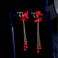 Недорогие Украшения в цветочном стиле-Жен. Клипсы - Цветы корейский Красный Назначение Повседневные / Для вечеринок