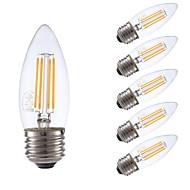 お買い得  -GMY® 6本 3.5W 350lm E26 フィラメントタイプLED電球 B10 4 LEDビーズ COB 調光可能 装飾用 LEDライト 温白色 110-130V