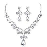 billige -Dame Kvadratisk Zirconium Smykkesæt Zirkonium, Sølvbelagt Dråbe Elegant Omfatte Sølv Til Bryllup Aftenselskab / Øreringe