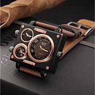 저렴한 -남성용 캐쥬얼 시계 패션 시계 드레스 시계 중국어 석영 크로노그래프 큰 다이얼 쓰리 타임 존 캐쥬얼 시계 섬유 밴드 캐쥬얼 멋진 블랙 화이트 블루