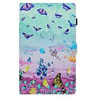Недорогие Чехлы и кейсы для Galaxy Tab E 9.6-Кейс для Назначение SSamsung Galaxy Tab S2 9.7 Tab A 10.1 (2016) Бумажник для карт со стендом Флип С узором Чехол Бабочка Твердый