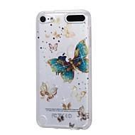 お買い得  iPod 用ケース/カバー-ケースアップルipod touch5 / 6ケースカバー高い浸透性の粉末imd金の蝶柔らかいtpuの電話ケース