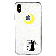 Case For Apple iPhone X iPhone 8 iPhone 8 Plus iPhone 6 iPhone 6 Plus iPhone 7 Plus iPhone 7 Translucent Pattern Back Cover Cat Glitter