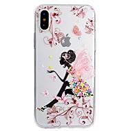Недорогие Кейсы для iPhone 8-Кейс для Назначение Apple iPhone X iPhone 8 Plus С узором Кейс на заднюю панель Бабочка Соблазнительная девушка Мягкий ТПУ для iPhone X