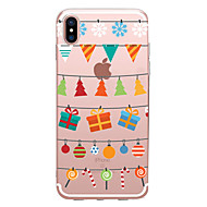 cheap iPhone 8 Plus Cases-Case For Apple iPhone X / iPhone 8 Transparent / Pattern Back Cover Christmas Soft TPU for iPhone X / iPhone 8 Plus / iPhone 8