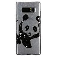 Недорогие Чехлы и кейсы для Galaxy Note 8-Кейс для Назначение SSamsung Galaxy Note 8 Полупрозрачный С узором Рельефный лакировка Кейс на заднюю панель Панда Сияние и блеск