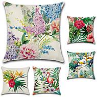 abordables Textiles para el Hogar-5 PC Algodón/Lino Cobertor de Cojín, Floral Estilo Bohemio Retro