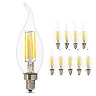 10pcs 4 W 360 lm E14 Ampoules à Filament LED C35L 4 Perles LED COB Lampe LED Décorative Edison Ampoule Blanc Chaud Blanc Froid 220-240 V / RoHs