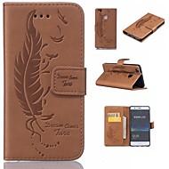preiswerte Handyhüllen-Hülle Für Huawei P9 Lite P9 Kreditkartenfächer Geldbeutel mit Halterung Flipbare Hülle Geprägt Feder Hart für Huawei