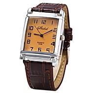 abordables Ofertas en Relojes-JUBAOLI Hombre Mujer Cuarzo Reloj de Pulsera Chino Reloj Casual Piel Banda Cool Marrón