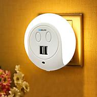 お買い得  -BRELONG® 1個 LEDナイトライト White ベッドサイド USBポート付き